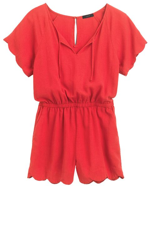 Clothing, Red, Sleeve, Neck, Blouse, Day dress, Dress, Ruffle, T-shirt,