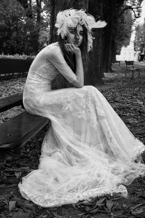 White, Photograph, Dress, Gown, Clothing, Bridal veil, Bridal accessory, Wedding dress, Black-and-white, Monochrome photography,
