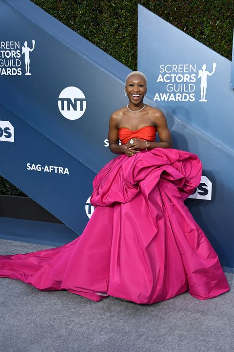 Dress, Clothing, Gown, Pink, Carpet, Red carpet, Fashion, Shoulder, Magenta, Premiere,