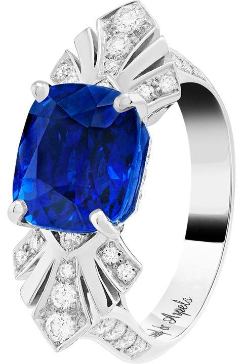Engagement ring, Blue, Ring, Cobalt blue, Fashion accessory, Diamond, Jewellery, Gemstone, Sapphire, Platinum,