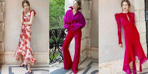 Clothing, Pink, Red, Magenta, Dress, Fashion model, Fashion, Neck, Pattern, Formal wear,