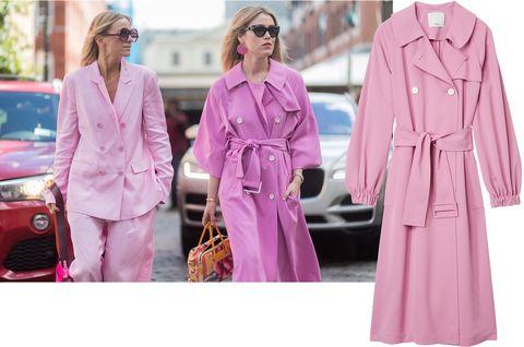 Clothing, Pink, Outerwear, Trench coat, Fashion, Magenta, Street fashion, Coat, Robe, Dress,