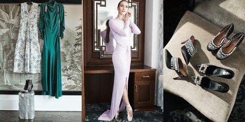 Clothing, White, Fashion model, Dress, Fashion, Formal wear, Shoulder, Leg, Gown, Room,