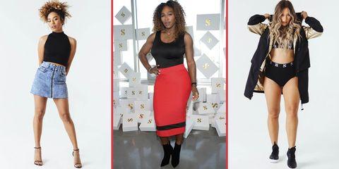 Clothing, Fashion, Dress, Fashion model, Footwear, Leg, Shoulder, Crop top, Pencil skirt, Waist,