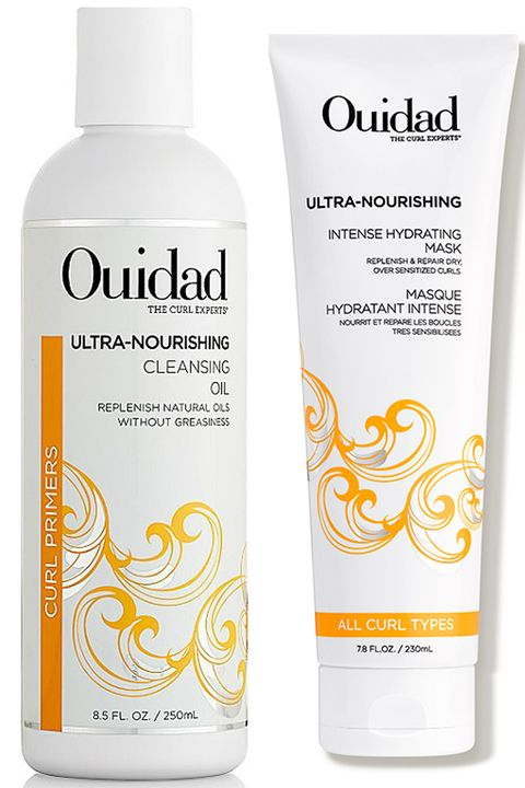ouidad curl recovery ultra nourishing cleansing oi and ultra nourishing intense hydrating mask on white background