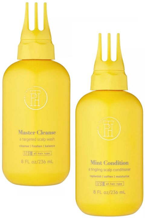 tph by taraji master cleanse scalp treatment wash and  mint condition tingling scalp conditioner on white background