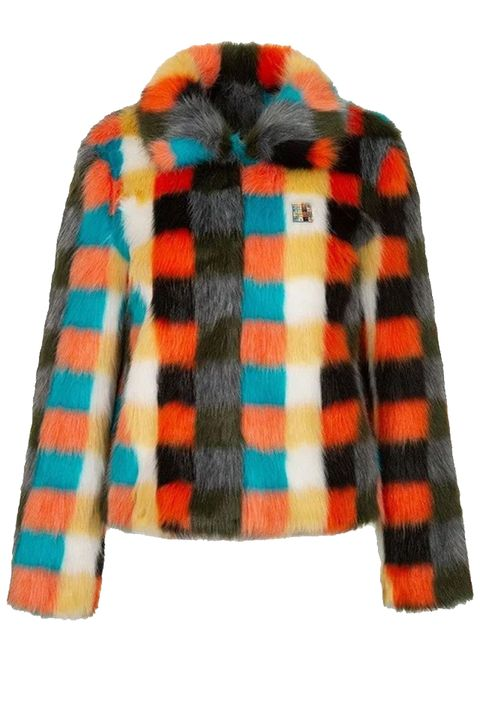 Clothing, Outerwear, Fur, Woolen, Orange, Sleeve, Jacket, Yellow, Wool, Coat,