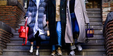Street fashion, Clothing, Plaid, Fashion, Tartan, Snapshot, Coat, Pattern, Footwear, Design,
