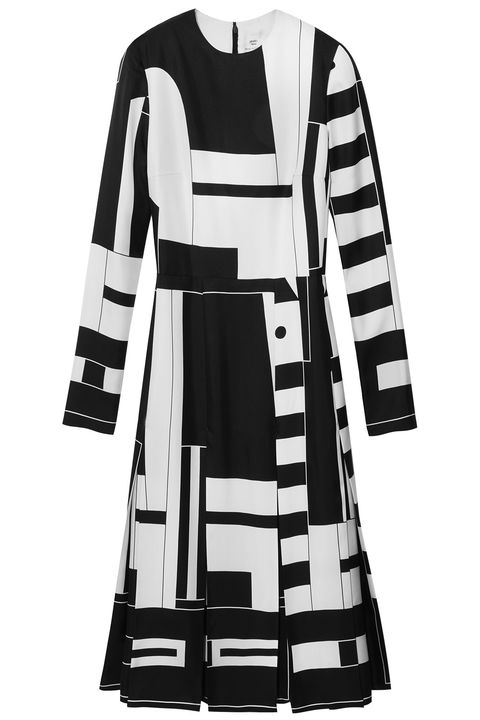Clothing, White, Sleeve, Day dress, Dress, Coat, Trench coat, Outerwear, Black-and-white, Costume design,