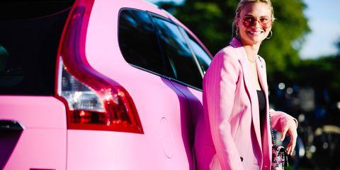 Pink, Automotive design, Vehicle, Car, Vehicle door, Beauty, Fashion, Magenta, City car, Automotive lighting,