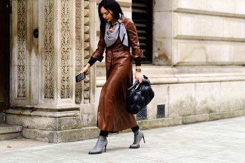 Street fashion, Clothing, Photograph, Fashion, Snapshot, Leather, Trench coat, Brown, Footwear, Coat,
