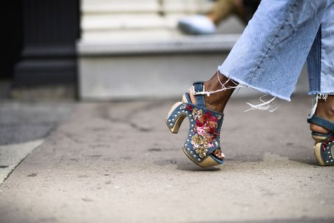Street fashion, Blue, Footwear, Shoe, Leg, Fashion, Human leg, Snapshot, Jeans, Ankle,