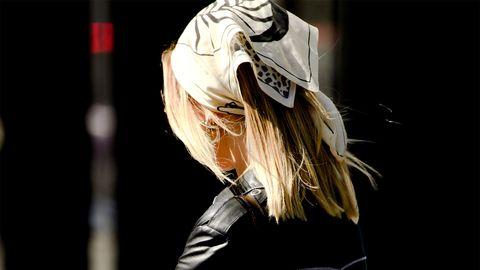 Black, Fashion, Beauty, Blond, Fashion model, Street fashion, Fashion design, Leg, Outerwear, Waist,