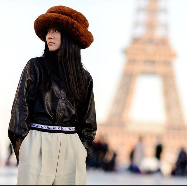Clothing, Fashion, Street fashion, Headgear, Leather, Hat, Jacket, Fashion model, Textile, Denim,