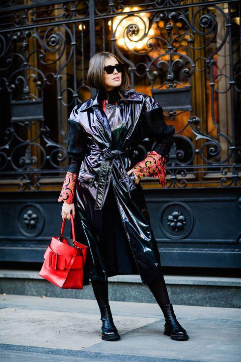 Clothing, Street fashion, Fashion, Coat, Outerwear, Fashion model, Latex, Trench coat, Dress, Footwear,