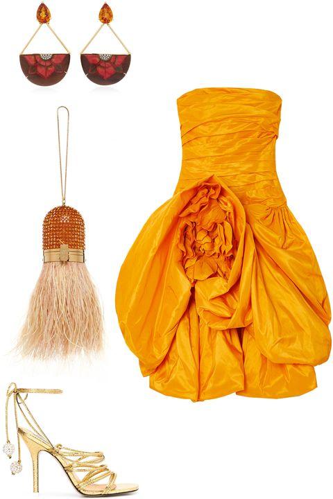 Orange, Yellow, Dress, Footwear, Peach, Costume design, Fashion design, Shoe, Day dress, Style,
