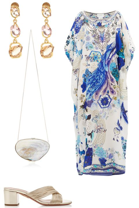 White, Clothing, Blue, Footwear, Dress, Neck, Shoe, Beige, Electric blue, Fashion accessory,