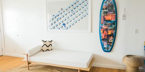 Furniture, Room, Shelf, Surfboard, Interior design, Table, Skateboard,