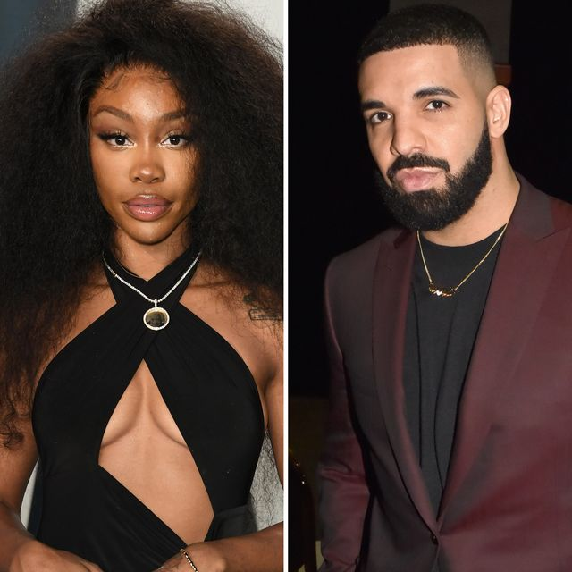 collage of sza and drake