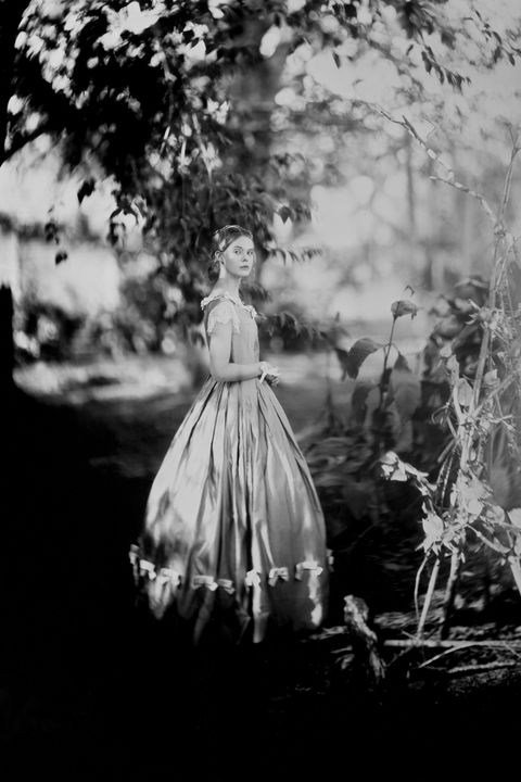 Dress, Style, Victorian fashion, Gown, Monochrome, Monochrome photography, Twig, hoopskirt, Day dress, Black-and-white,