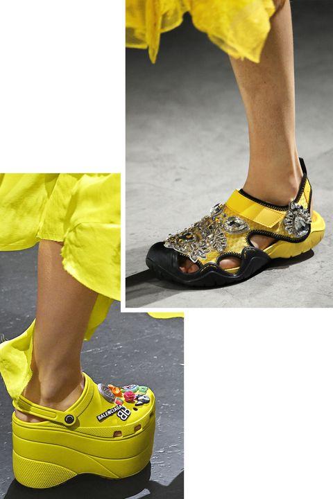 Footwear, Yellow, Shoe, Orange, Human leg, Fashion, Leg, Outdoor shoe, Sportswear, Sandal,