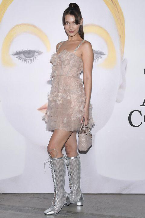 Fashion model, Clothing, Shoulder, Fashion, Dress, Cocktail dress, Footwear, Joint, Beauty, Leg,