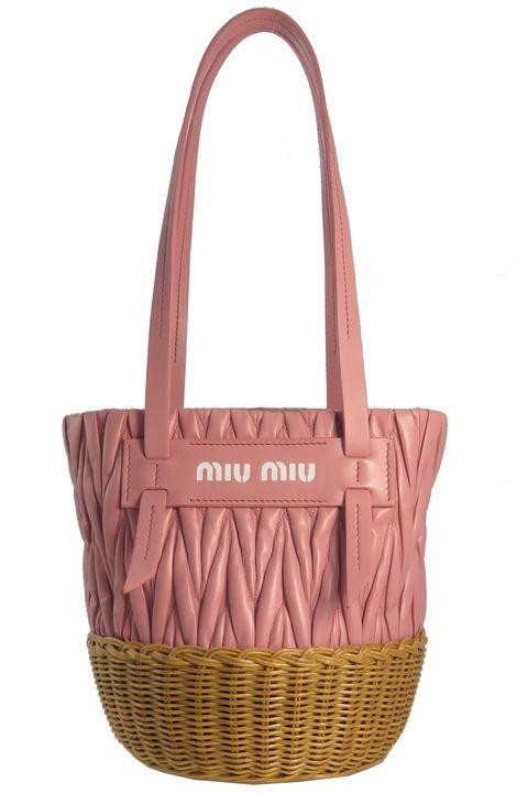 29ab438c4337 Courtesy. Basket detail and rose colored leather—get your girly on in one  very charming bag... Miu ...