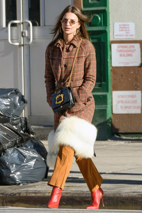Clothing, Street fashion, Fashion, Jeans, Footwear, Brown, Snapshot, Fur, Outerwear, Leg,