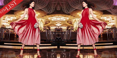 Fashion, Pink, Dress, Magenta, Cg artwork, Art, Textile, Fashion design, Long hair, Formal wear,