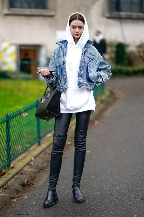 Clothing, Street fashion, Photograph, Jeans, Fashion, Snapshot, Footwear, Leggings, Outerwear, Jacket,