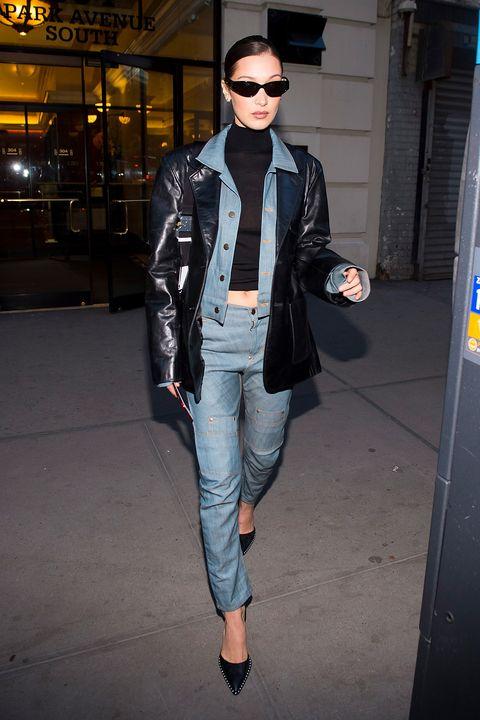 Clothing, Street fashion, Leather, Eyewear, Fashion, Jeans, Jacket, Leather jacket, Outerwear, Snapshot,
