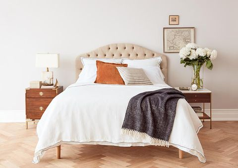 Bedroom, Furniture, Bed, Bedding, Bed sheet, White, Bed frame, Room, Nightstand, Duvet cover,