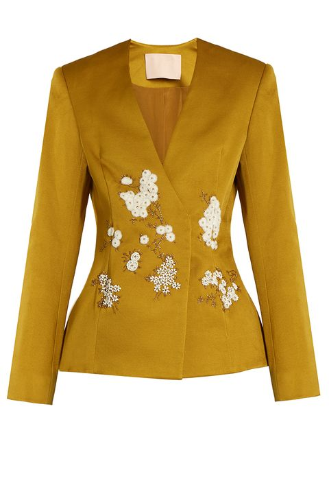 Clothing, Outerwear, Yellow, Jacket, Sleeve, Blazer, Top, Formal wear, Button, Blouse,