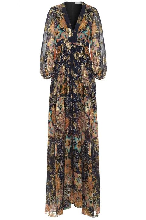 Clothing, Dress, Sleeve, Day dress, Robe, Gown, Outerwear, Neck, Visual arts, Pattern,