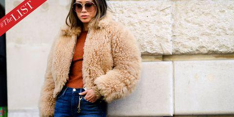 Fur, Clothing, Fur clothing, Eyewear, Street fashion, Outerwear, Fashion, Sunglasses, Coat, Jacket,