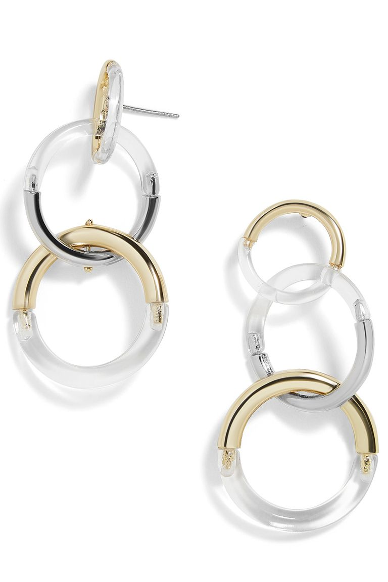 Perfect For A Nighttime Look Baublebar S Interlocking Hoops Mold Lucite Gold And Silver All Together In One Earrings