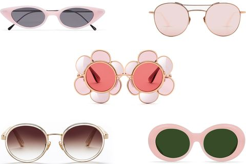 Eyewear, Sunglasses, Glasses, Pink, Peach, Personal protective equipment, Vision care, aviator sunglass, Circle, Goggles,