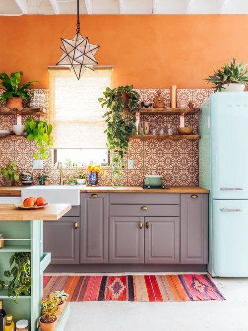 Modern Bohemian Kitchen Idea Orange Wall Color Flower Patterned Tiles For Backsplash Gray Cabinets Wood