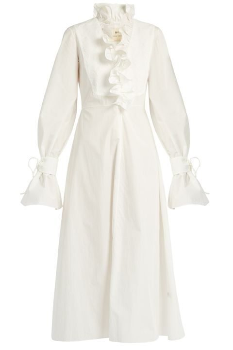 Clothing, White, Dress, Sleeve, Day dress, Gown, Formal wear, Robe, Outerwear, Collar,