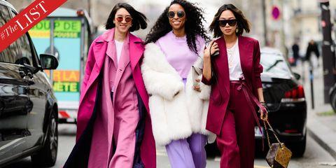 Street fashion, Pink, Clothing, Fashion, Fur, Magenta, Coat, Eyewear, Outerwear, Fur clothing,