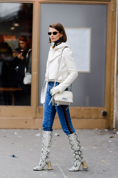 Clothing, White, Street fashion, Jeans, Fashion, Footwear, Denim, Shoulder, Electric blue, Outerwear,