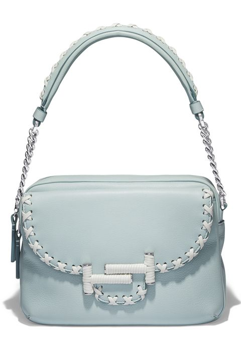 Handbag, Bag, Shoulder bag, White, Fashion accessory, Leather, Silver, Turquoise, Material property, Luggage and bags,