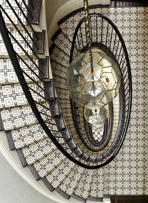 Stairs, Architecture, Iron, Ceiling, Interior design, Room, Window, Circle, Art, Mosaic,