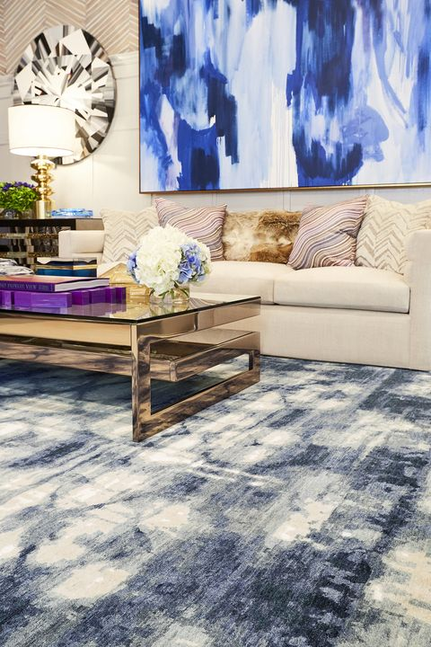 Floor, Living room, Blue, Furniture, Room, Interior design, Purple, Wall, Coffee table, Property,