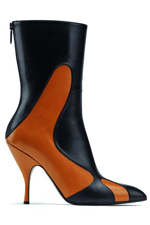 Footwear, High heels, Shoe, Orange, Boot, Leather, Basic pump, Leg, Suede,