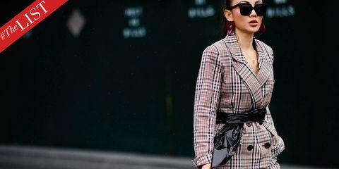 Eyewear, Street fashion, Clothing, Plaid, Fashion, Pattern, Fashion model, Sunglasses, Outerwear, Glasses,