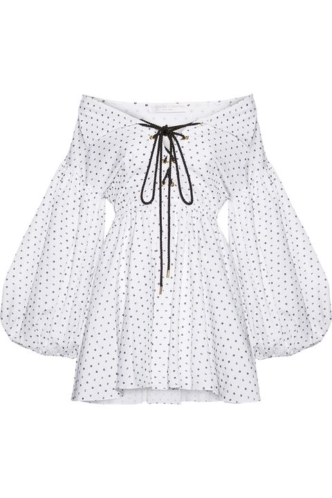 Clothing, White, Blouse, Pattern, Sleeve, Outerwear, Design, Polka dot, Shorts,