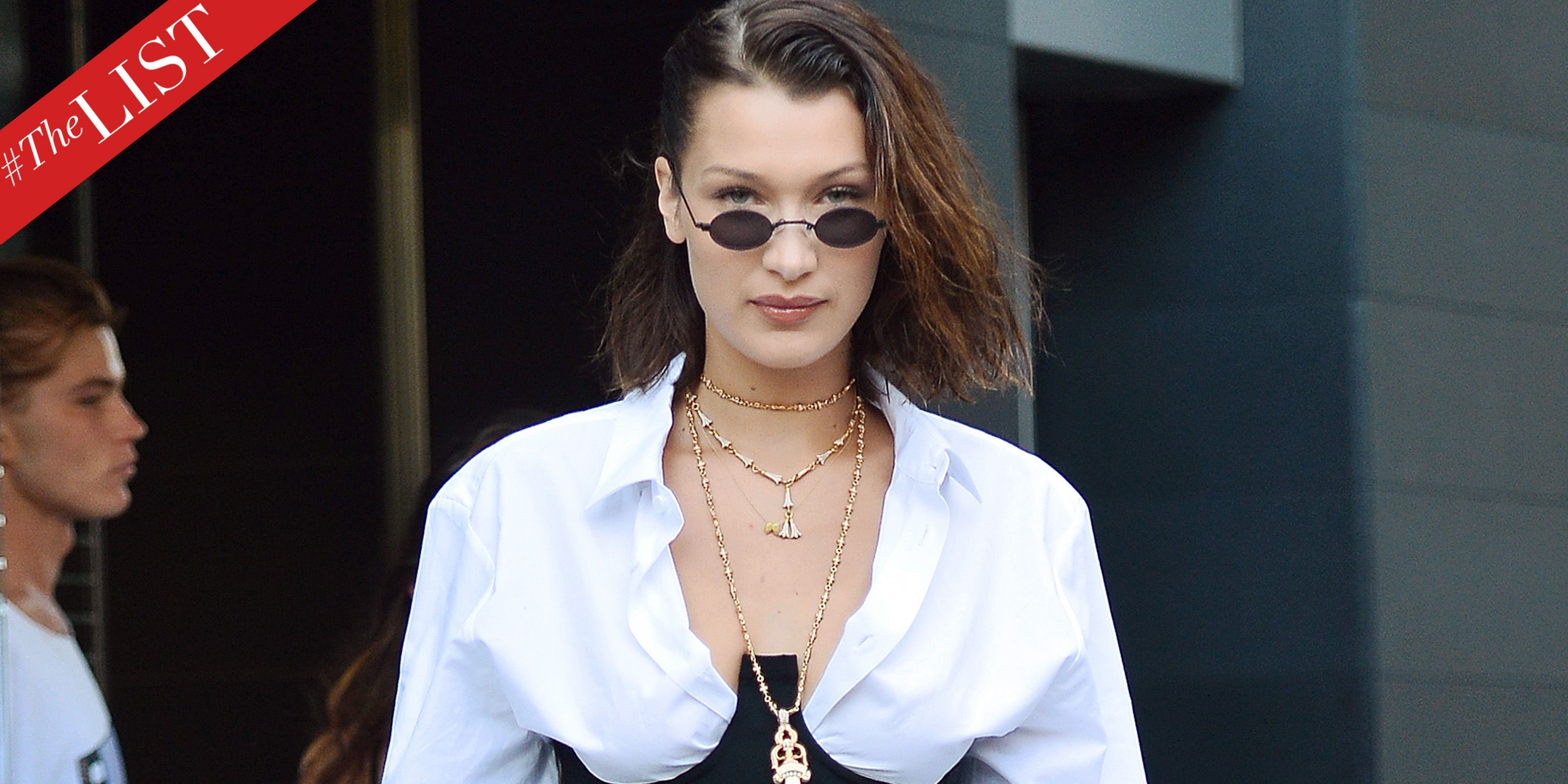 b3911e20de Bella Hadid Small Sunglasses Trend - Tiny 90s Sunglasses Trend