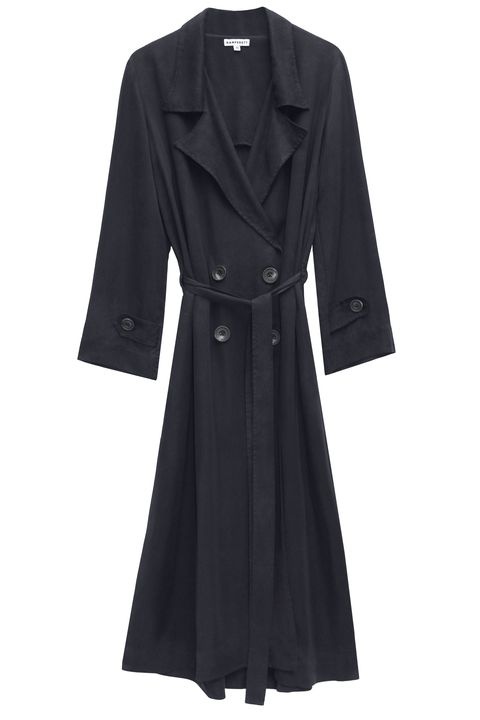 Clothing, Coat, Trench coat, Outerwear, Black, Overcoat, Sleeve, Robe, Dress, Collar,