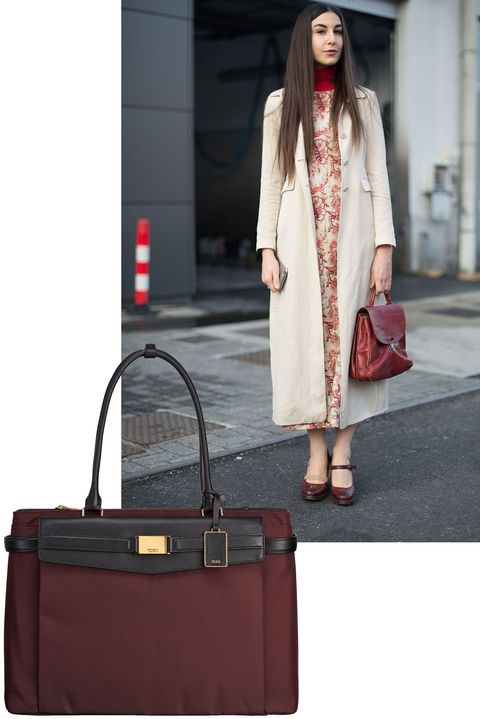 Clothing, Fashion, Brown, Red, Pink, Bag, Street fashion, Handbag, Beauty, Shoulder,